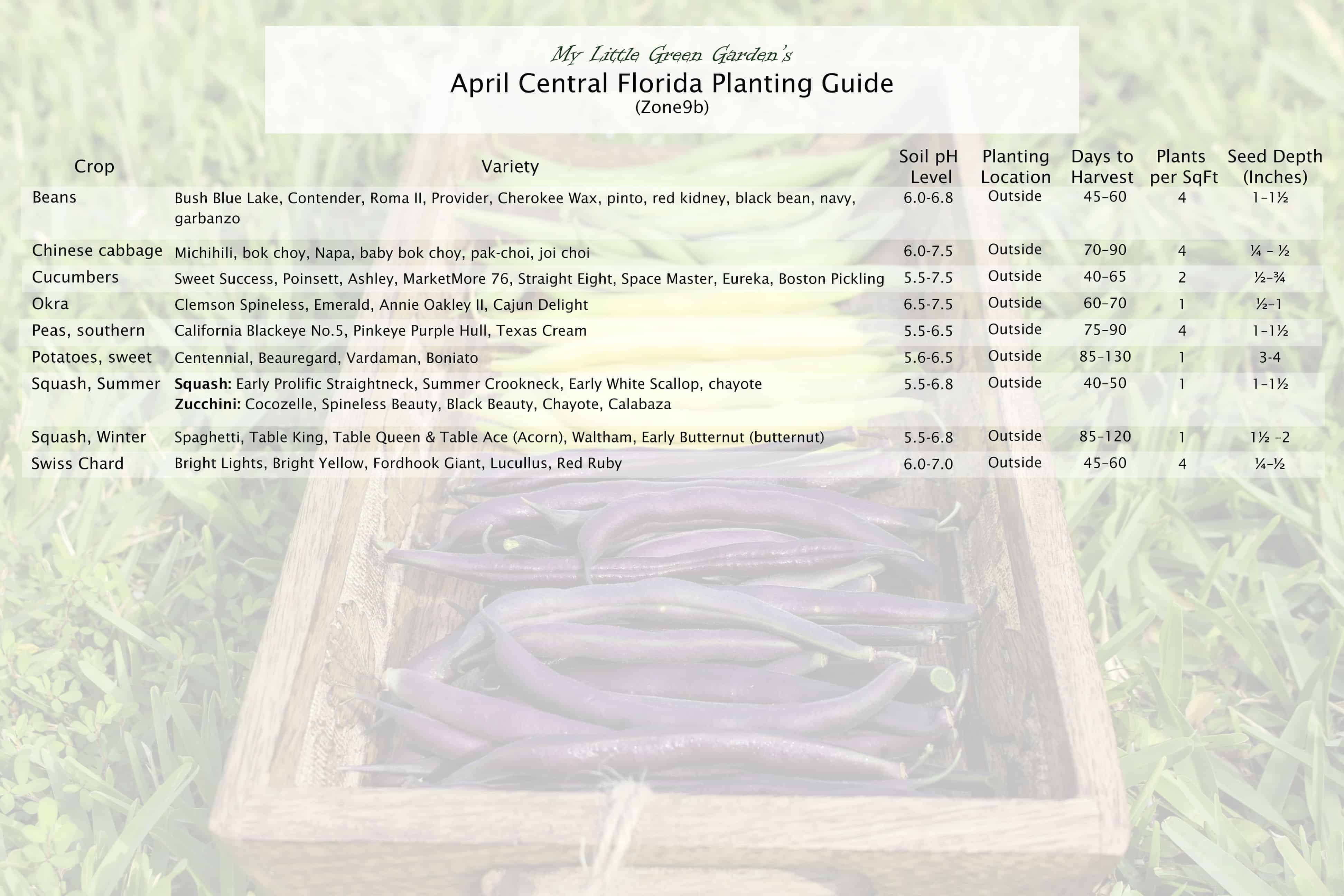 April Vegetable Planting Guide for Central Florida